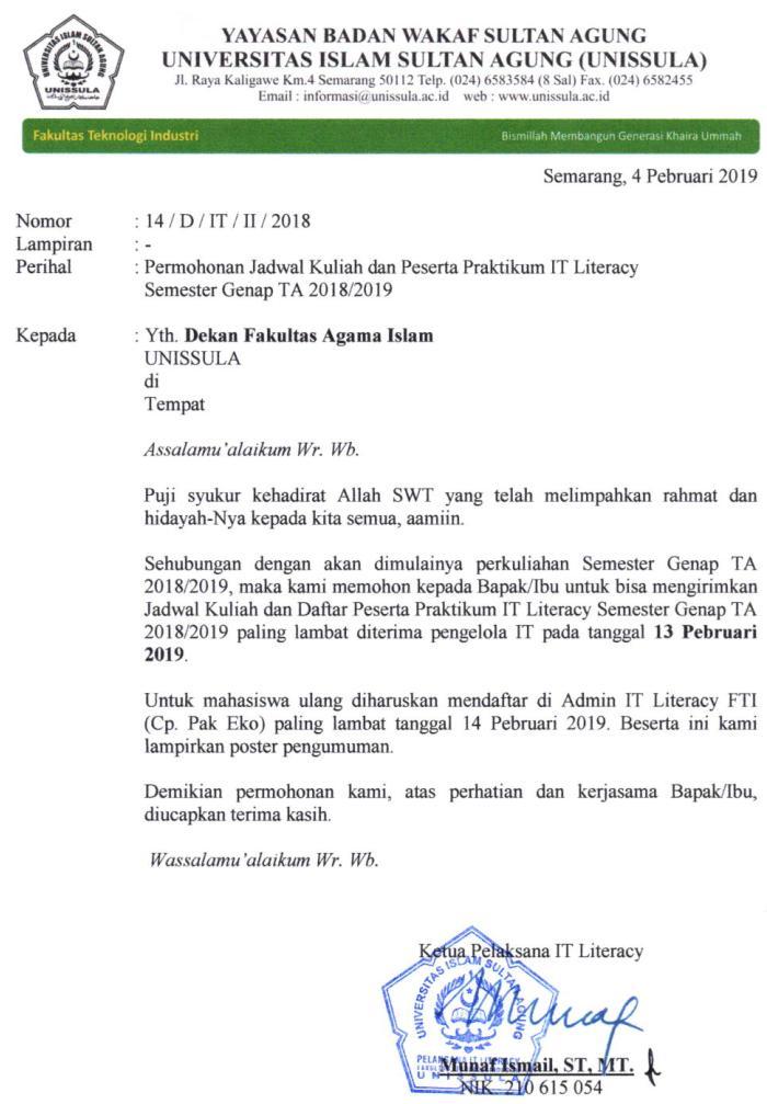 Pendaftaran Matakuliah IT 2018-2019 Genap