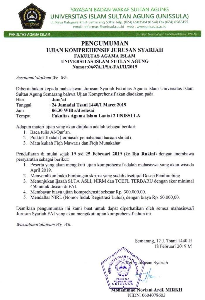 Ujian Komprehensif Syariah Februari 2019