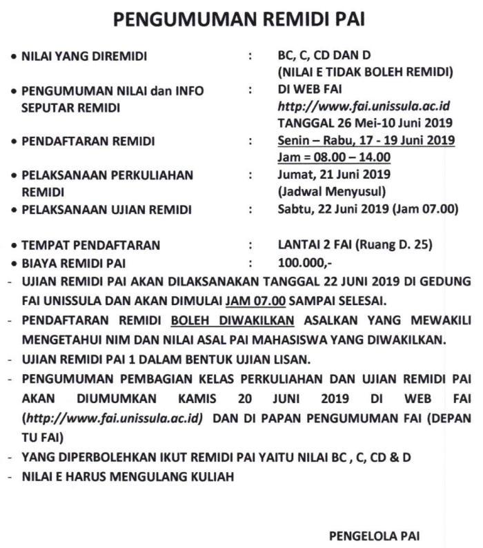 Pengumuman Remidial PAI 2018-2019 Genap